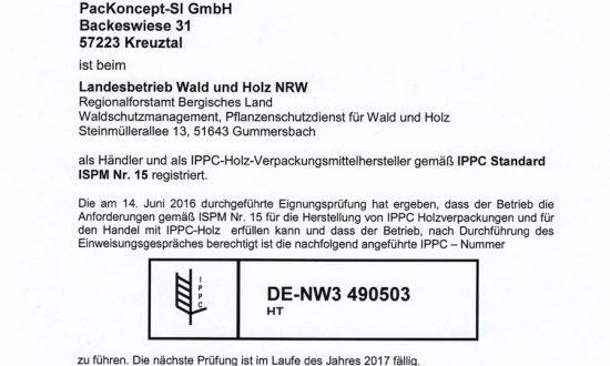 ISPM 15 Zertifizierung durch den TÜV & das Land NRW