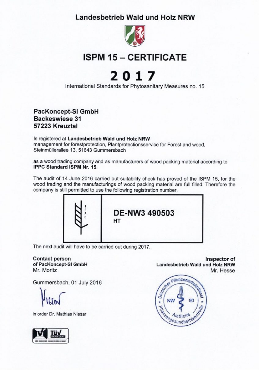 ISPM Nr. 15 Certification by TÜV & German Federal State NRW
